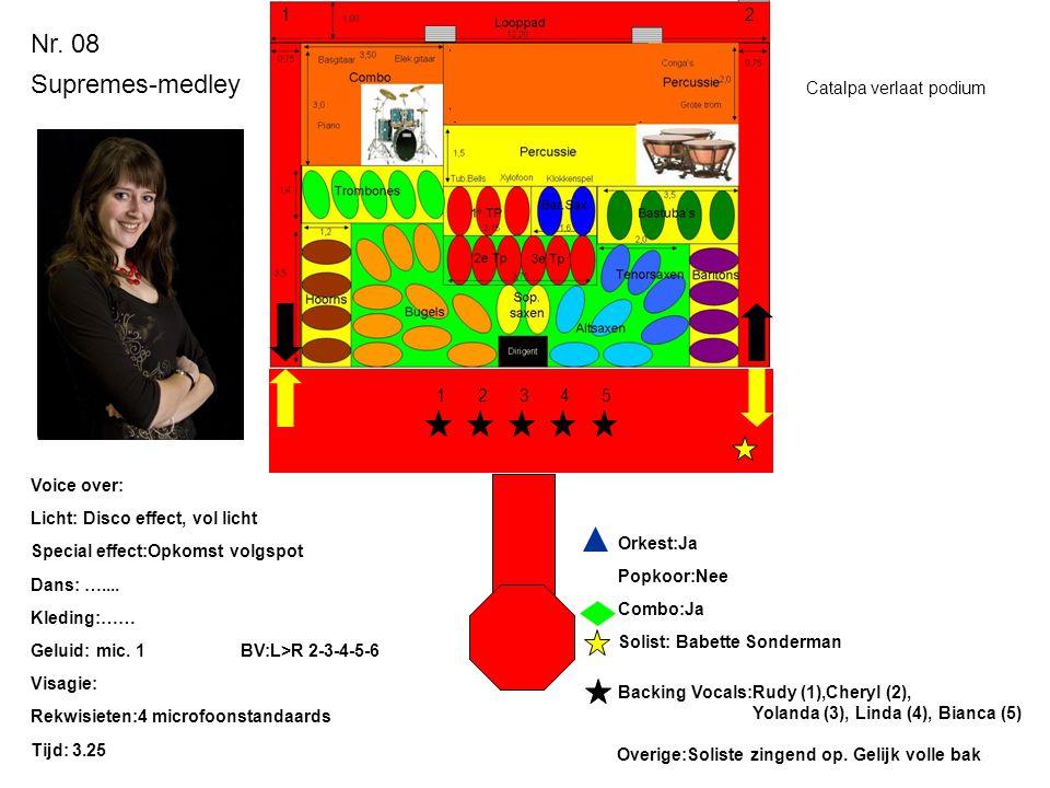 Nr. 08 Supremes-medley Licht: Disco effect, vol licht Special effect:Opkomst volgspot Dans: ….... Kleding:…… Geluid: mic. 1BV:L>R 2-3-4-5-6 Visagie: R
