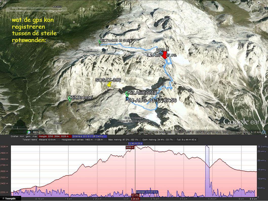 wat de gps kon registreren tussen de steile rotswanden: