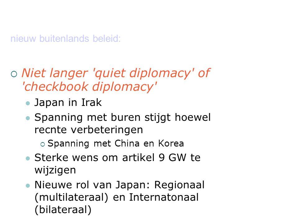 nieuw buitenlands beleid:  Niet langer quiet diplomacy of checkbook diplomacy Japan in Irak Spanning met buren stijgt hoewel recnte verbeteringen  Spanning met China en Korea Sterke wens om artikel 9 GW te wijzigen Nieuwe rol van Japan: Regionaal (multilateraal) en Internatonaal (bilateraal)