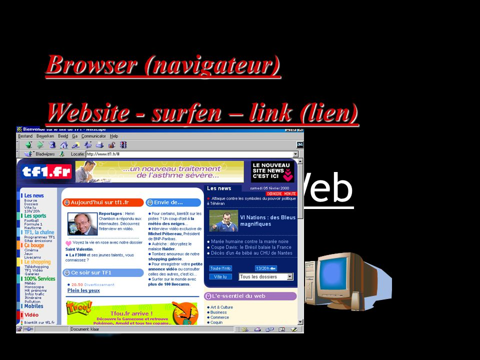 Informatie World Wide Web Browser (navigateur) Website - surfen – link (lien)
