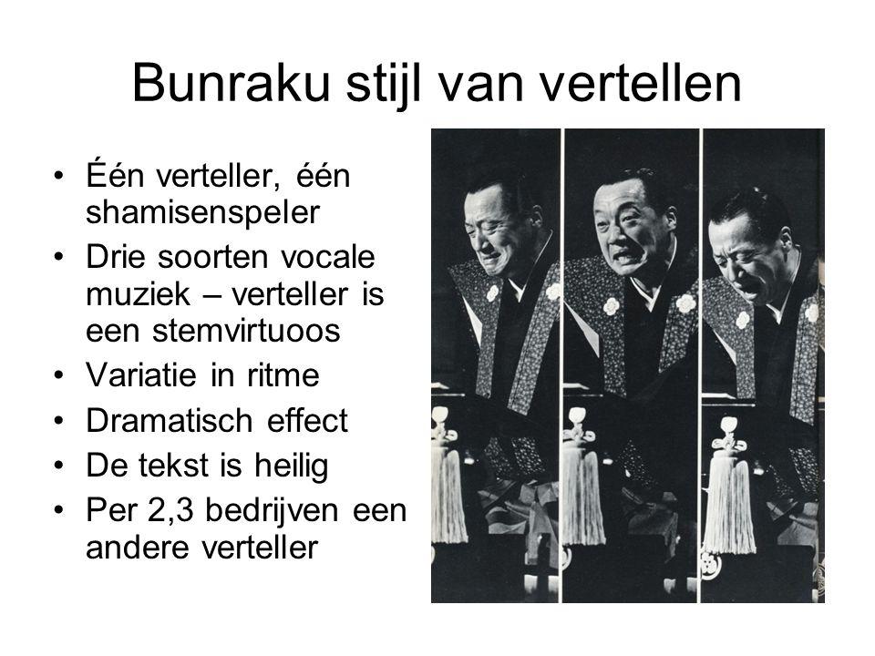 Bunraku stijl van vertellen Één verteller, één shamisenspeler Drie soorten vocale muziek – verteller is een stemvirtuoos Variatie in ritme Dramatisch