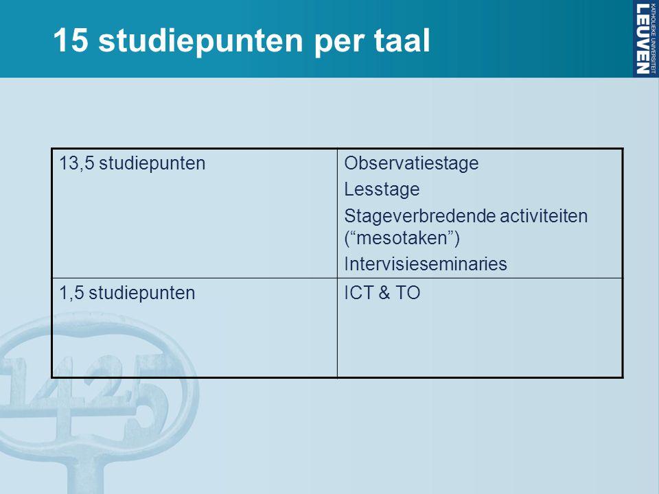 """15 studiepunten per taal 13,5 studiepuntenObservatiestage Lesstage Stageverbredende activiteiten (""""mesotaken"""") Intervisieseminaries 1,5 studiepuntenIC"""
