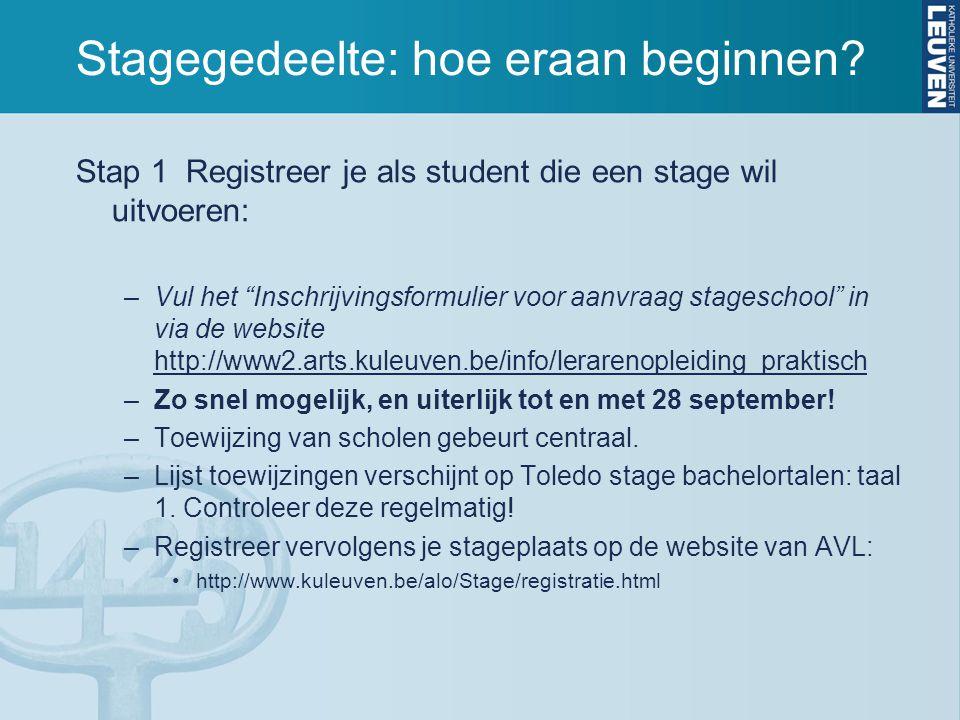 """Stagegedeelte: hoe eraan beginnen? Stap 1 Registreer je als student die een stage wil uitvoeren: –Vul het """"Inschrijvingsformulier voor aanvraag stages"""