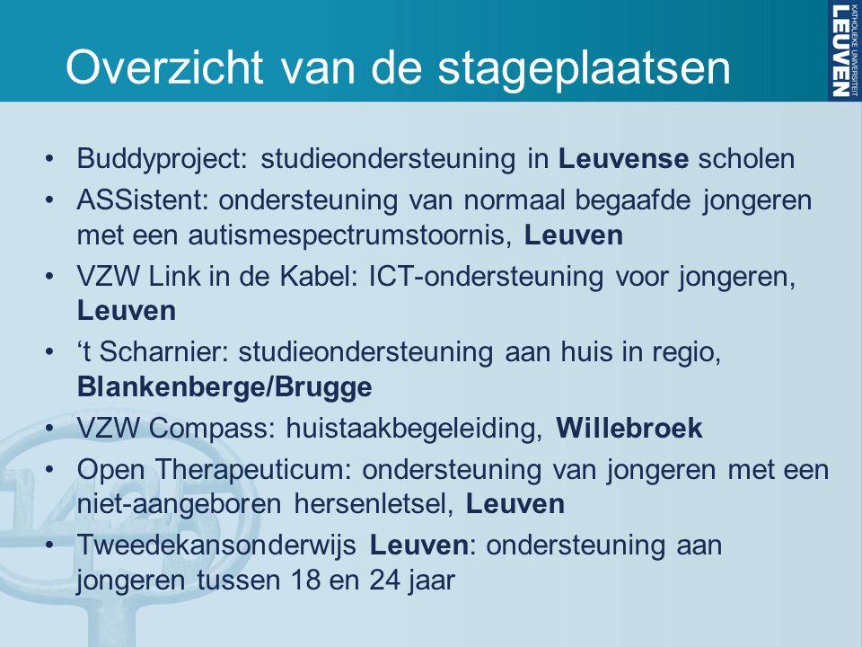Overzicht van de stageplaatsen Buddyproject: studieondersteuning in Leuvense scholen ASSistent: ondersteuning van normaal begaafde jongeren met een autismespectrumstoornis, Leuven VZW Link in de Kabel: ICT-ondersteuning voor jongeren, Leuven 't Scharnier: studieondersteuning aan huis in regio, Blankenberge/Brugge VZW Compass: huistaakbegeleiding, Willebroek Open Therapeuticum: ondersteuning van jongeren met een niet-aangeboren hersenletsel, Leuven Tweedekansonderwijs Leuven: ondersteuning aan jongeren tussen 18 en 24 jaar