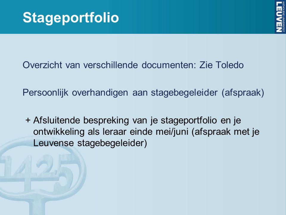 Stageportfolio Overzicht van verschillende documenten: Zie Toledo Persoonlijk overhandigen aan stagebegeleider (afspraak) + Afsluitende bespreking van