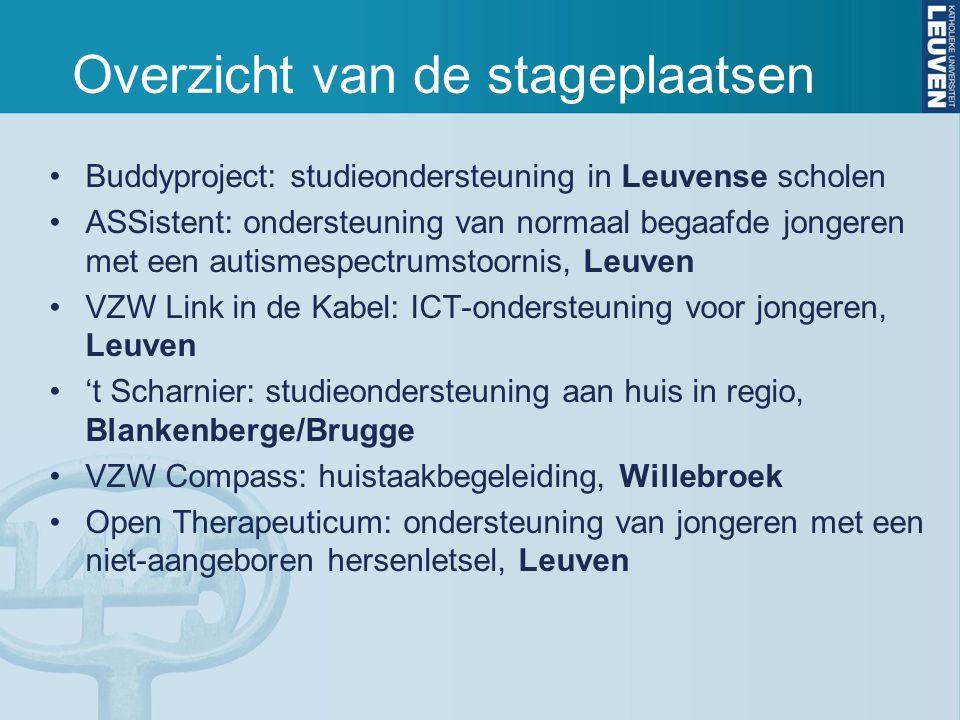 Overzicht van de stageplaatsen Buddyproject: studieondersteuning in Leuvense scholen ASSistent: ondersteuning van normaal begaafde jongeren met een autismespectrumstoornis, Leuven VZW Link in de Kabel: ICT-ondersteuning voor jongeren, Leuven 't Scharnier: studieondersteuning aan huis in regio, Blankenberge/Brugge VZW Compass: huistaakbegeleiding, Willebroek Open Therapeuticum: ondersteuning van jongeren met een niet-aangeboren hersenletsel, Leuven