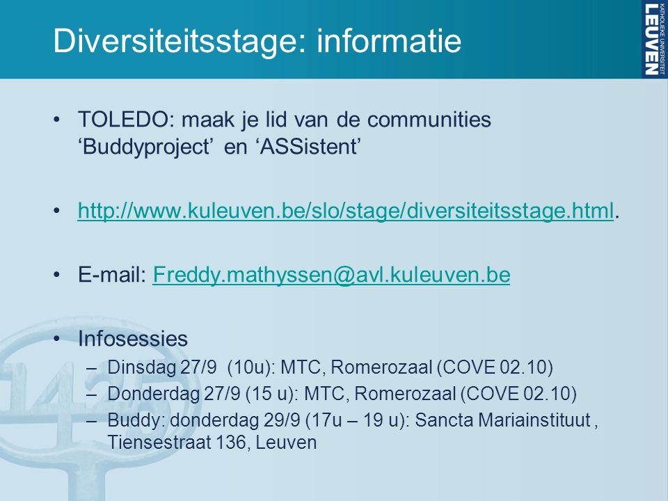 Diversiteitsstage: informatie TOLEDO: maak je lid van de communities 'Buddyproject' en 'ASSistent' http://www.kuleuven.be/slo/stage/diversiteitsstage.html.http://www.kuleuven.be/slo/stage/diversiteitsstage.html E-mail: Freddy.mathyssen@avl.kuleuven.beFreddy.mathyssen@avl.kuleuven.be Infosessies –Dinsdag 27/9 (10u): MTC, Romerozaal (COVE 02.10) –Donderdag 27/9 (15 u): MTC, Romerozaal (COVE 02.10) –Buddy: donderdag 29/9 (17u – 19 u): Sancta Mariainstituut, Tiensestraat 136, Leuven