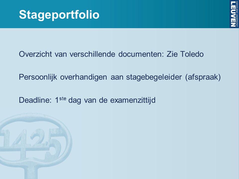 Stageportfolio Overzicht van verschillende documenten: Zie Toledo Persoonlijk overhandigen aan stagebegeleider (afspraak) Deadline: 1 ste dag van de examenzittijd