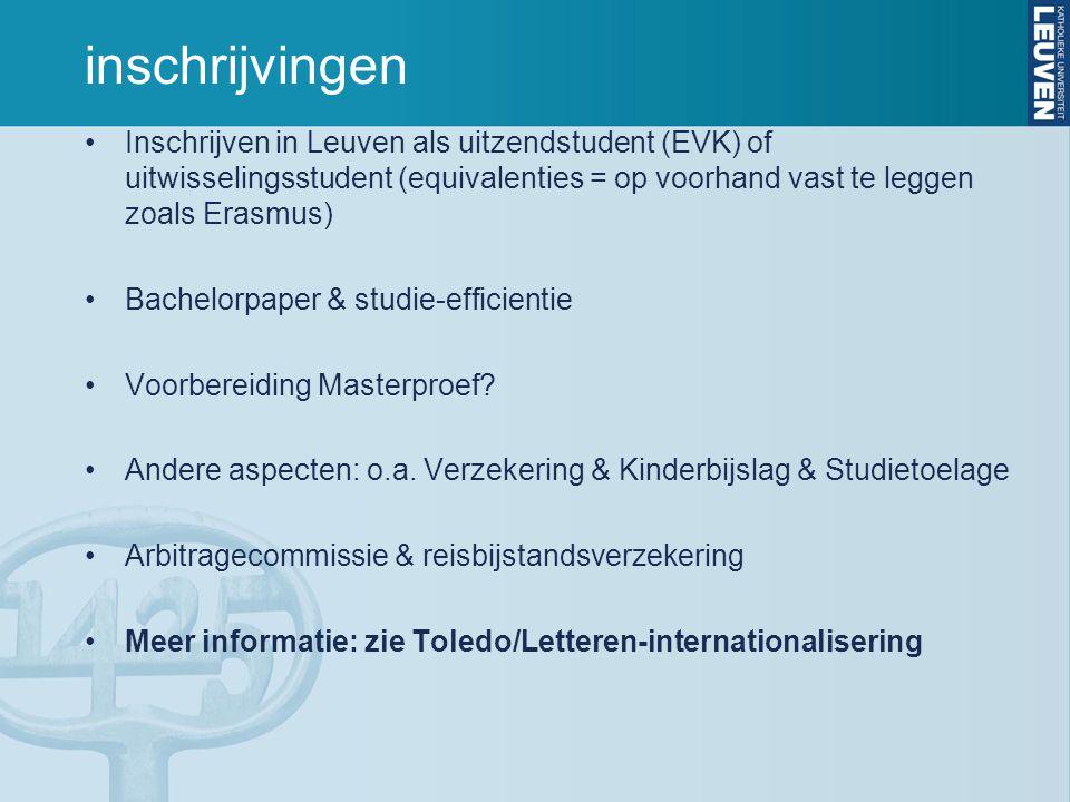 inschrijvingen Inschrijven in Leuven als uitzendstudent (EVK) of uitwisselingsstudent (equivalenties = op voorhand vast te leggen zoals Erasmus) Bachelorpaper & studie-efficientie Voorbereiding Masterproef.