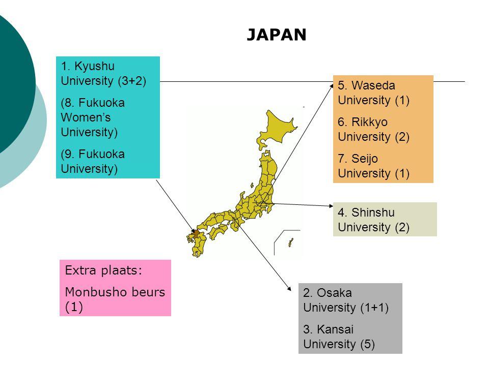 1. Kyushu University (3+2) (8. Fukuoka Women's University) (9. Fukuoka University) 2. Osaka University (1+1) 3. Kansai University (5) 4. Shinshu Unive