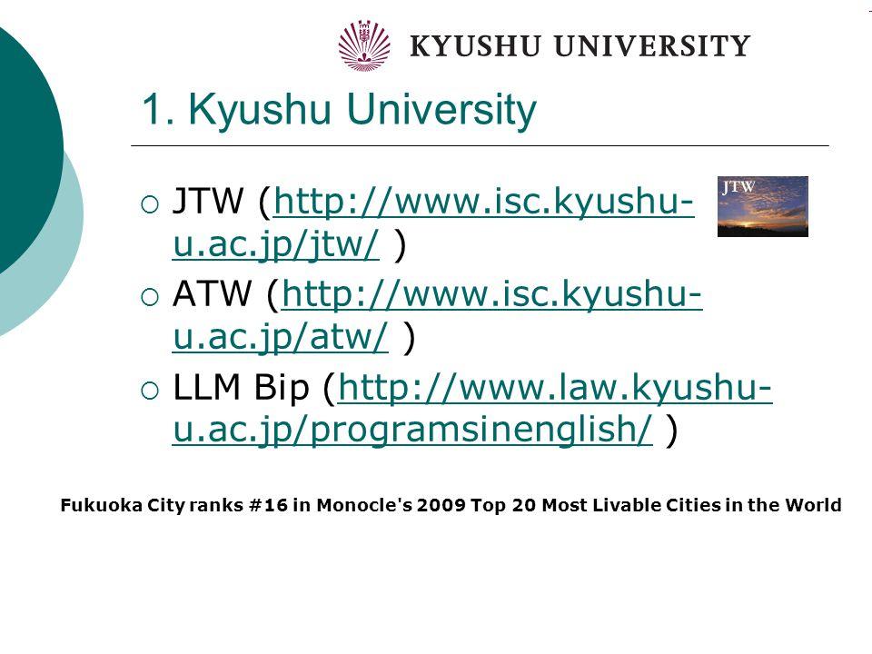 1. Kyushu University  JTW (http://www.isc.kyushu- u.ac.jp/jtw/ )http://www.isc.kyushu- u.ac.jp/jtw/  ATW (http://www.isc.kyushu- u.ac.jp/atw/ )http: