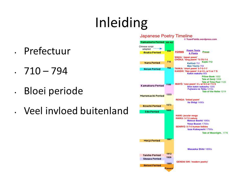 Prefectuur 710 – 794 Bloei periode Veel invloed buitenland Inleiding