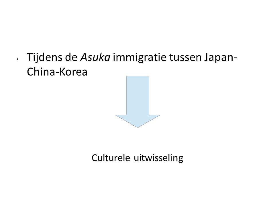 Tijdens de Asuka immigratie tussen Japan- China-Korea Culturele uitwisseling