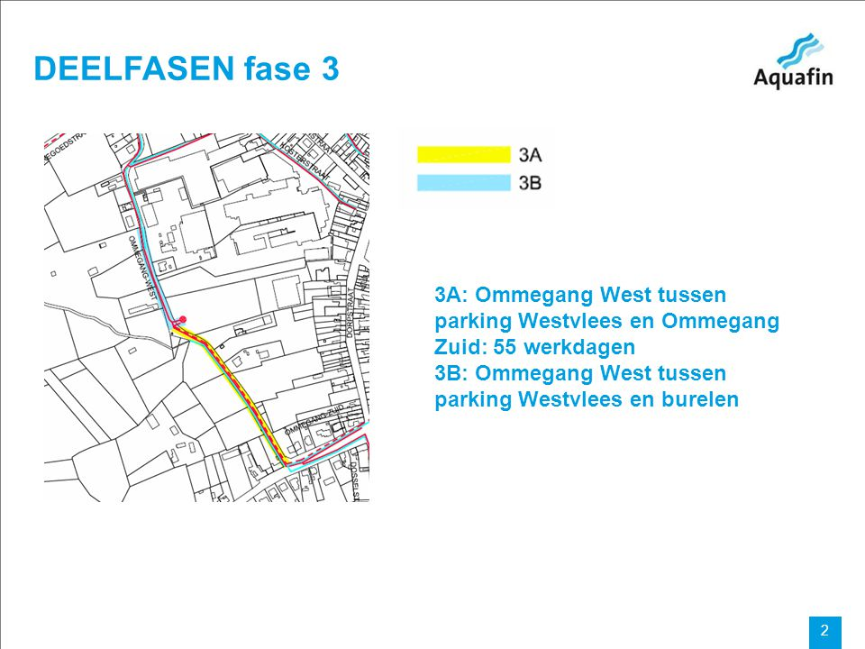 15-12-2010 Aquafin partner for all wastewater projects 2 DEELFASEN fase 3 3A: Ommegang West tussen parking Westvlees en Ommegang Zuid: 55 werkdagen 3B