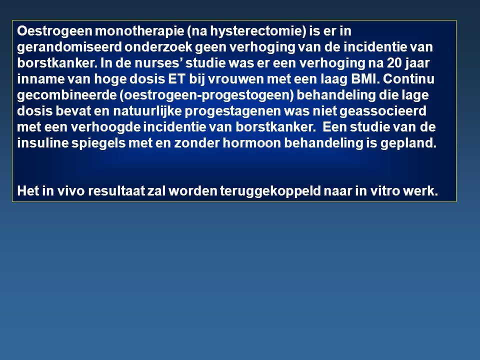 Oestrogeen monotherapie (na hysterectomie) is er in gerandomiseerd onderzoek geen verhoging van de incidentie van borstkanker. In de nurses' studie wa