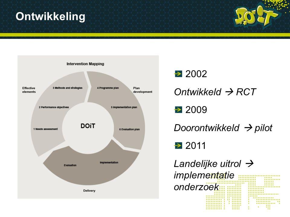 Ontwikkeling 2002 Ontwikkeld  RCT 2009 Doorontwikkeld  pilot 2011 Landelijke uitrol  implementatie onderzoek
