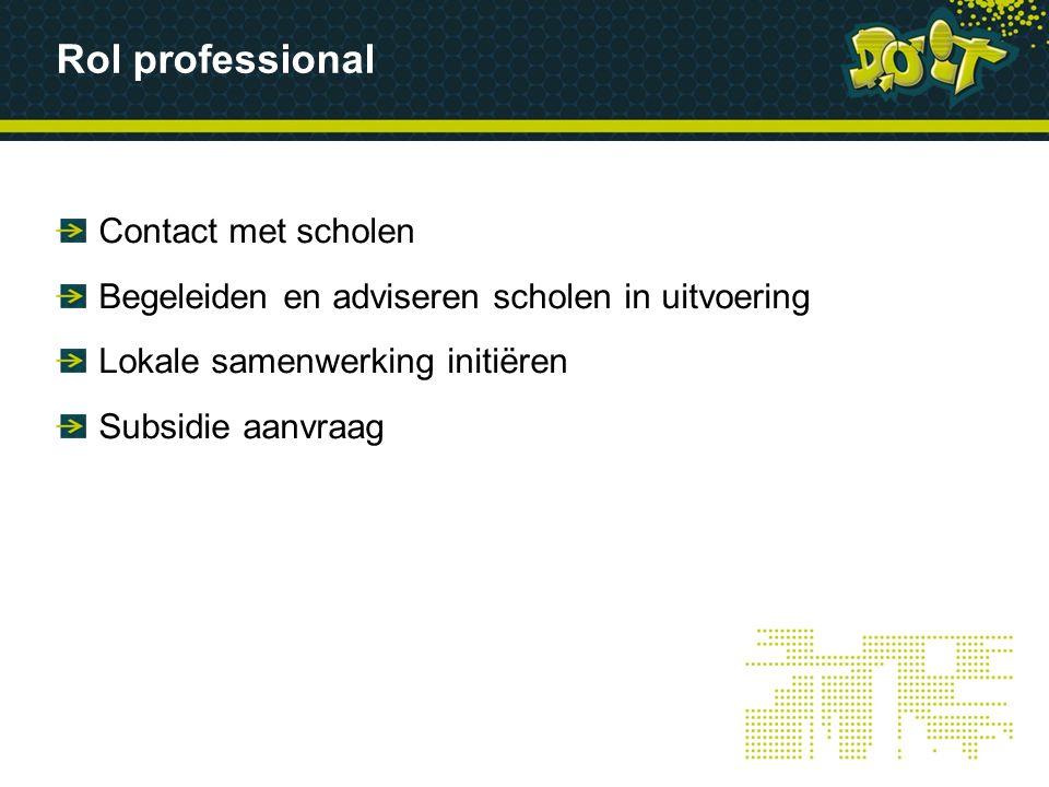 Rol professional Contact met scholen Begeleiden en adviseren scholen in uitvoering Lokale samenwerking initiëren Subsidie aanvraag
