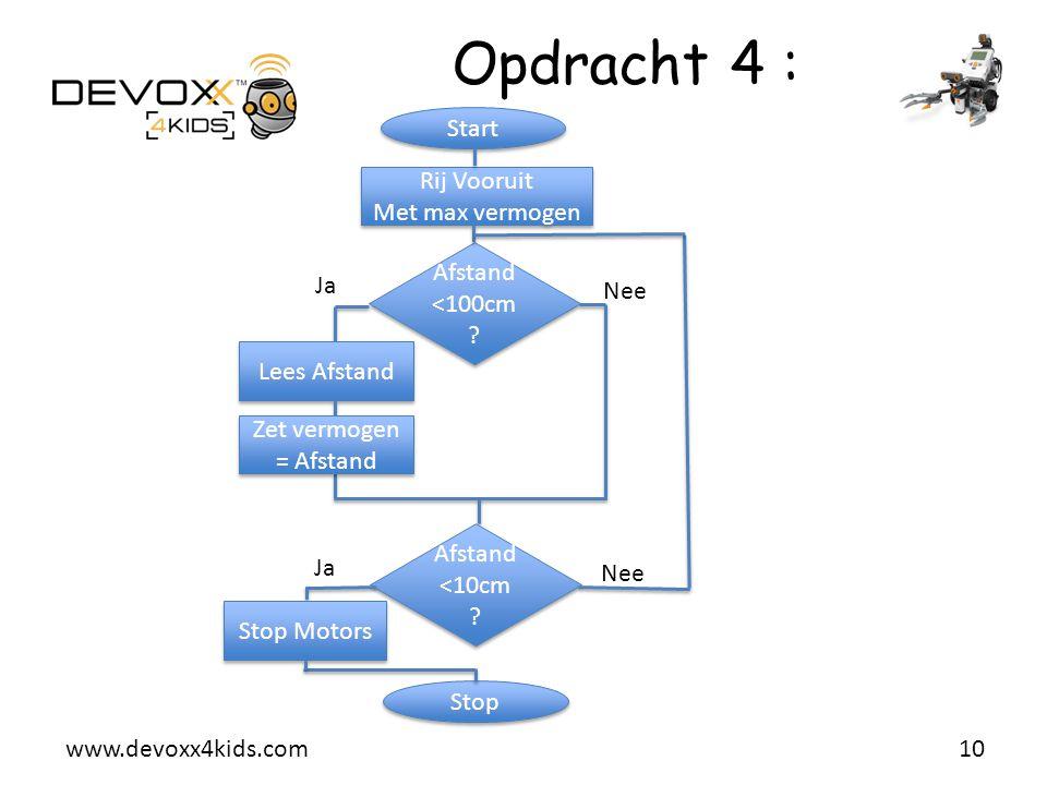www.devoxx4kids.com Opdracht 4 : 10 Start Rij Vooruit Met max vermogen Rij Vooruit Met max vermogen Afstand <100cm ? Nee Ja Lees Afstand Zet vermogen
