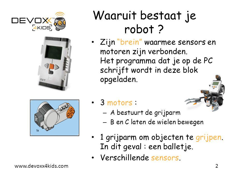 """www.devoxx4kids.com Zijn """"brein"""" waarmee sensors en motoren zijn verbonden. Het programma dat je op de PC schrijft wordt in deze blok opgeladen. 2 Waa"""
