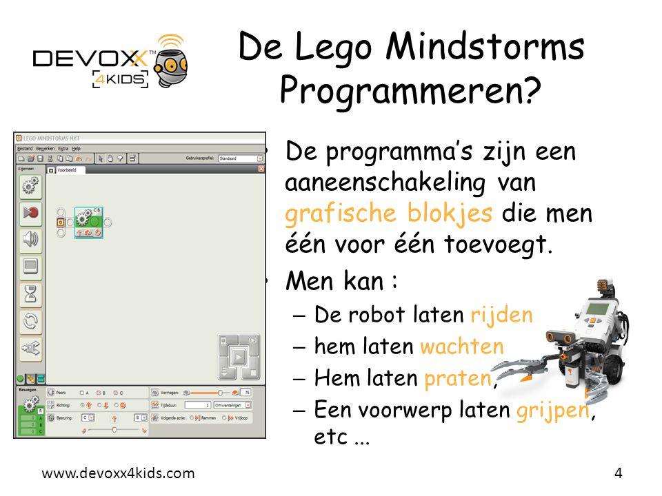 www.devoxx4kids.com De programma's zijn een aaneenschakeling van grafische blokjes die men één voor één toevoegt. Men kan : – De robot laten rijden –