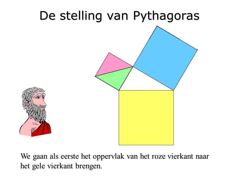 De stelling van Pythagoras We gaan als eerste het oppervlak van het roze vierkant naar het gele vierkant brengen.