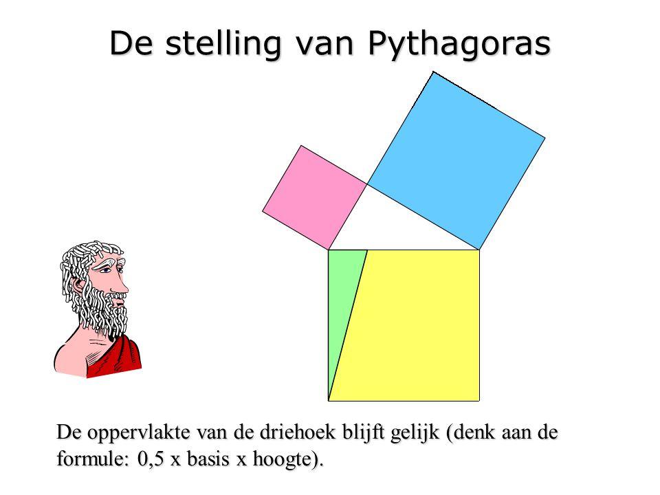 De stelling van Pythagoras De oppervlakte van de driehoek blijft gelijk (denk aan de formule: 0,5 x basis x hoogte).