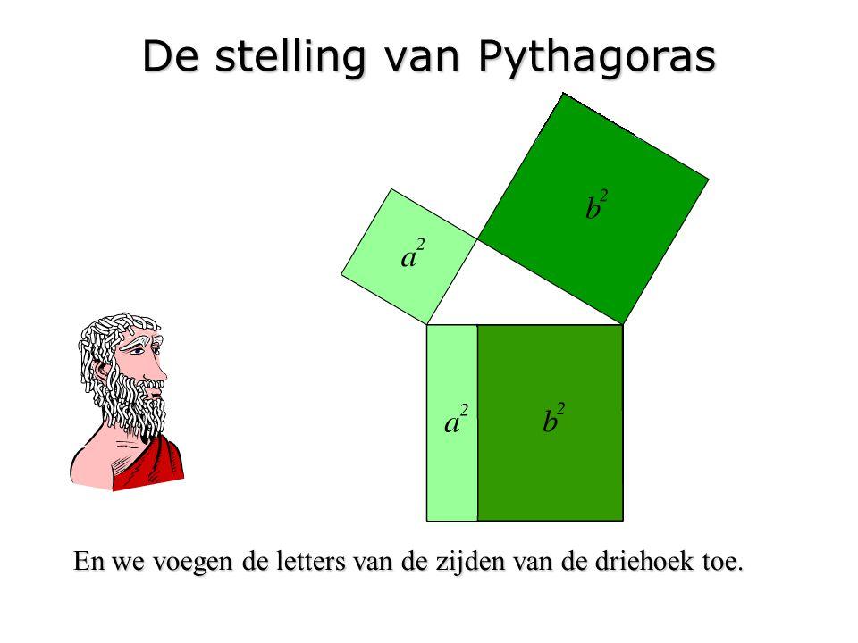 De stelling van Pythagoras En we voegen de letters van de zijden van de driehoek toe.