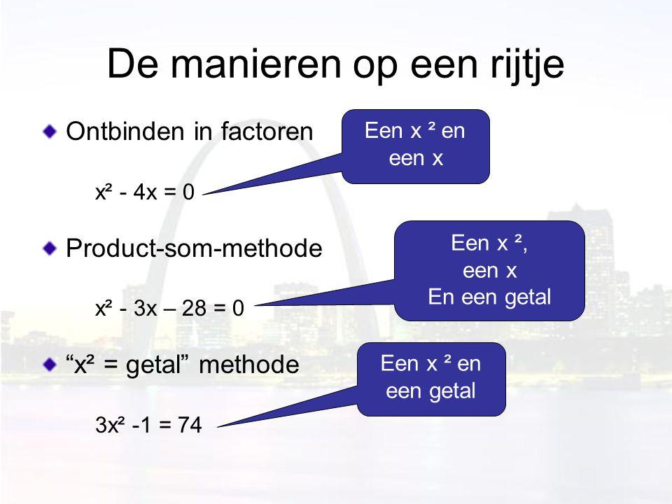 """De manieren op een rijtje Ontbinden in factoren x² - 4x = 0 Product-som-methode x² - 3x – 28 = 0 """"x² = getal"""" methode 3x² -1 = 74 Een x ² en een x Een"""