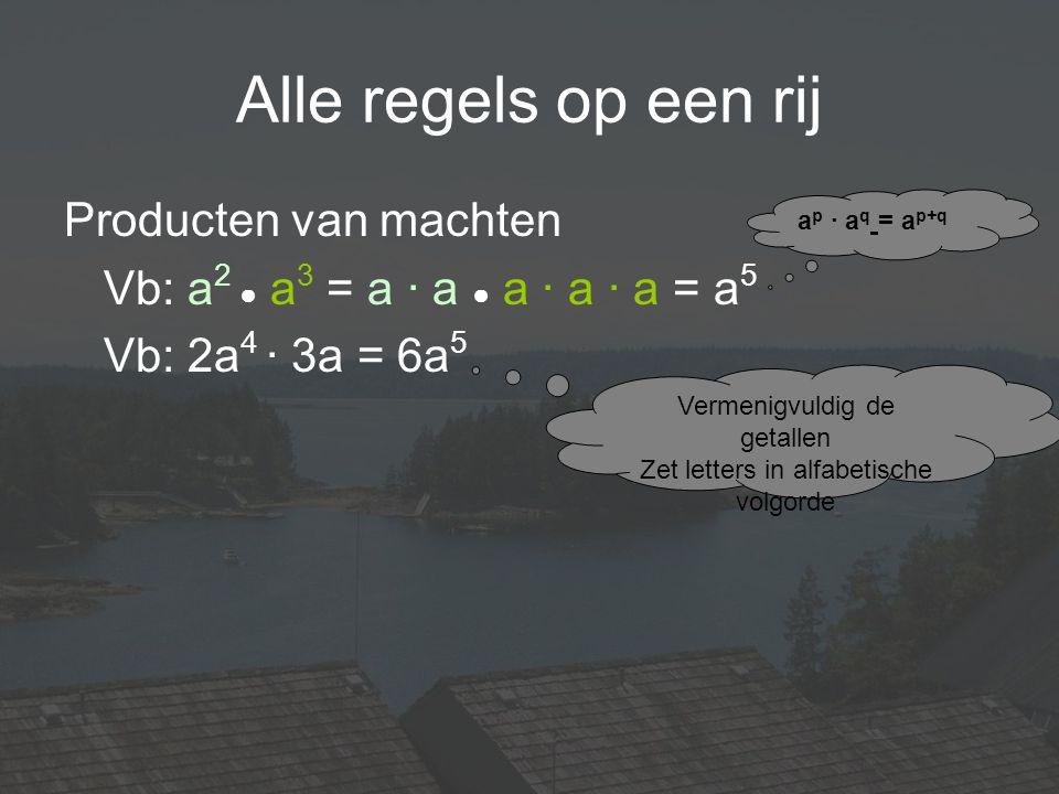 Alle regels op een rij Producten van machten Vb: a 2 ● a 3 = a · a ● a · a · a = a 5 Vb: 2a 4 · 3a = 6a 5 Vermenigvuldig de getallen Zet letters in al