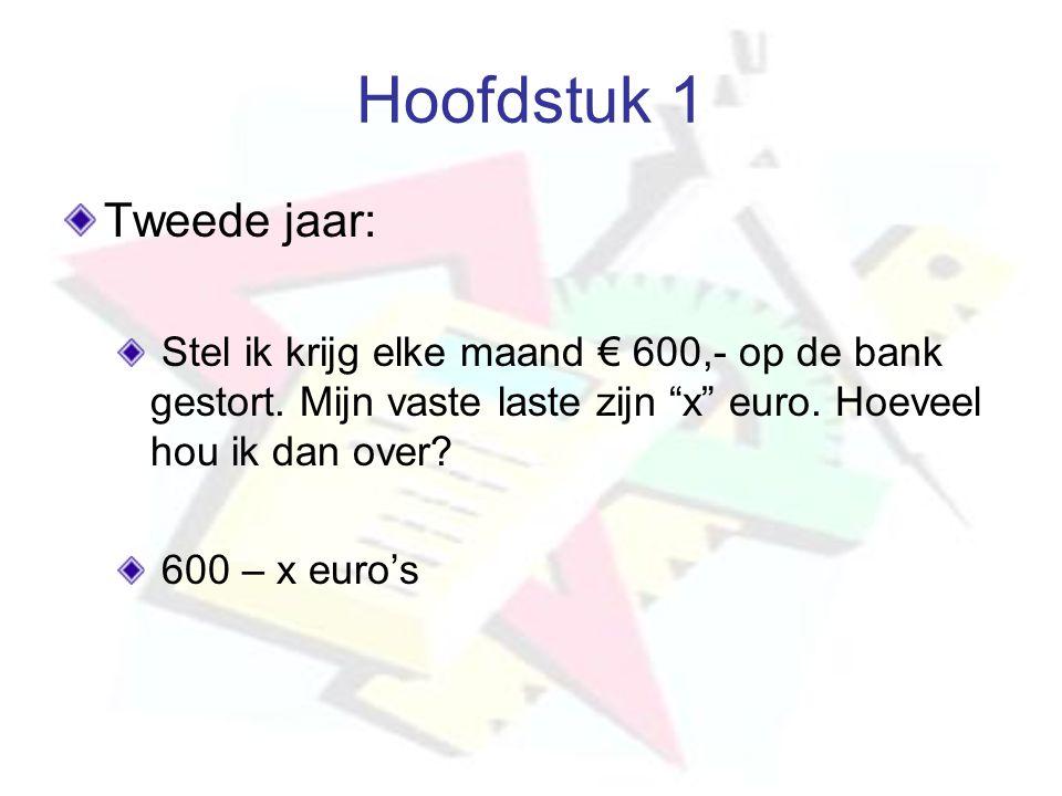 """Hoofdstuk 1 Tweede jaar: Stel ik krijg elke maand € 600,- op de bank gestort. Mijn vaste laste zijn """"x"""" euro. Hoeveel hou ik dan over? 600 – x euro's"""