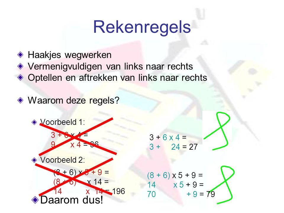 Rekenregels Haakjes wegwerken Vermenigvuldigen van links naar rechts Optellen en aftrekken van links naar rechts Waarom deze regels? Voorbeeld 1: Voor