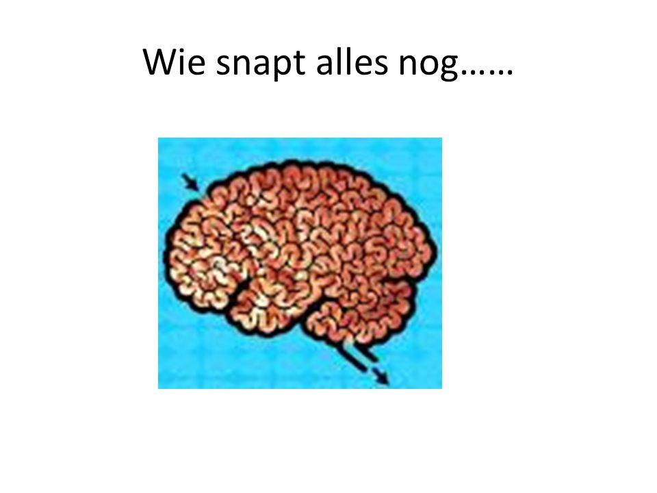 Wie snapt alles nog……