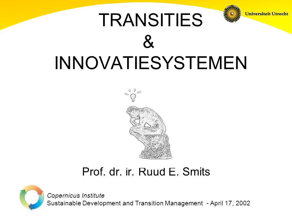 Copernicus Institute Sustainable Development and Transition Management Thema's Drie redenen waarom inzicht in de ontwikkeling van innovastiesystemen van belang is voor transitieprocessen Innovatiesystemen als inspiratiebron voor transitieprocessen Innovatie Onderzoek binnen Copernicus