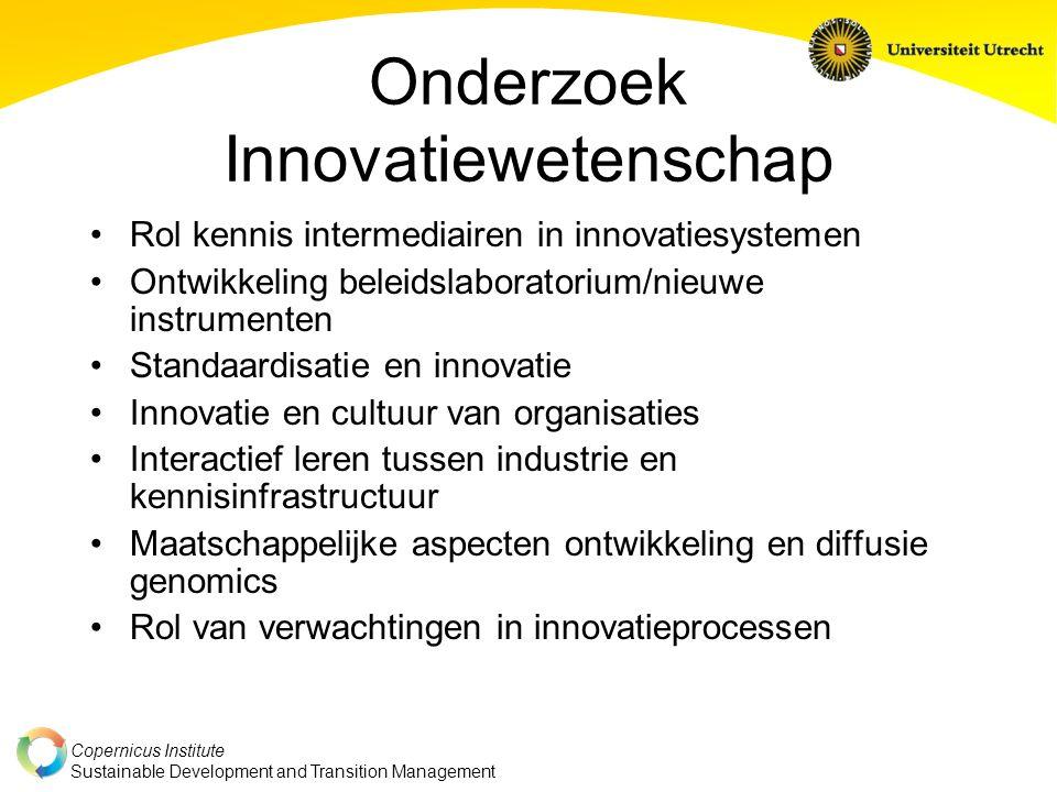 Copernicus Institute Sustainable Development and Transition Management Onderzoek Innovatiewetenschap Rol kennis intermediairen in innovatiesystemen On