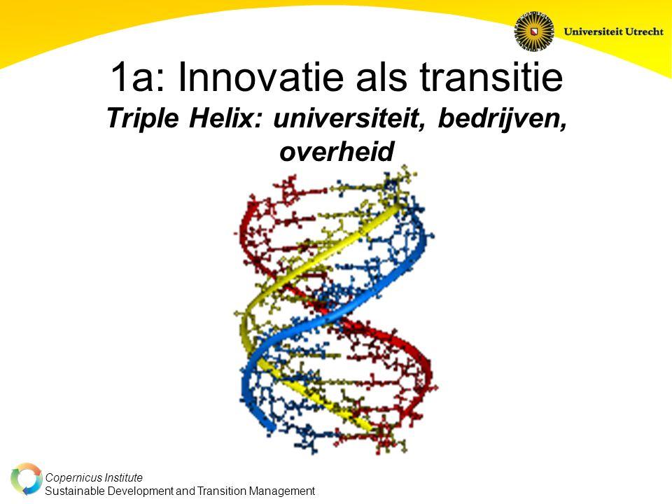 Copernicus Institute Sustainable Development and Transition Management 1a: Innovatie als transitie Triple Helix: universiteit, bedrijven, overheid