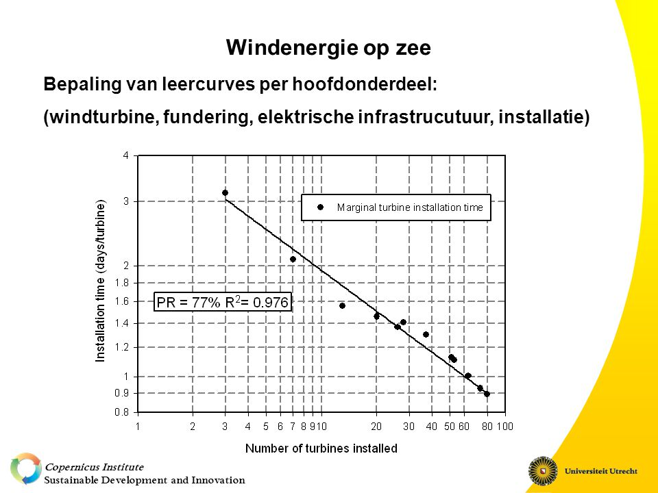 Copernicus Institute Sustainable Development and Innovation Windenergie op zee Bepaling van leercurves per hoofdonderdeel: (windturbine, fundering, elektrische infrastrucutuur, installatie)