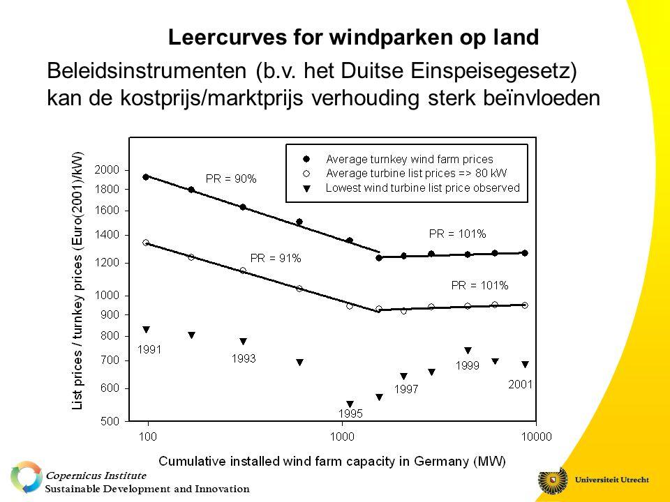 Copernicus Institute Sustainable Development and Innovation Relevantie voor (Nederlandse) beleidsmakers: Vaststelling ondersteuning diverse duurzame energie- technologieen (MEP-tarieven) Bepaling lange-termijn beleid voor nieuwe technologieen (wind op zee) Invloed van Europees en Nederlands beleid vs.