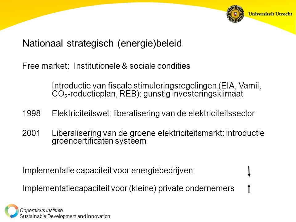 Copernicus Institute Sustainable Development and Innovation Nationaal strategisch (energie)beleid Free market: Institutionele & sociale condities Intr