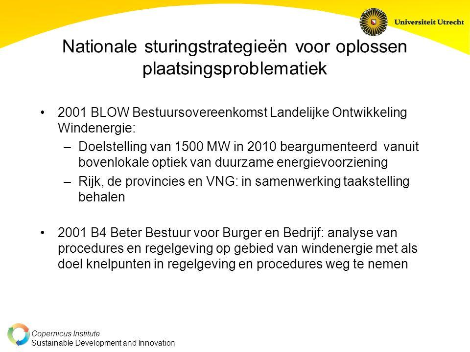 Copernicus Institute Sustainable Development and Innovation Nationale sturingstrategieën voor oplossen plaatsingsproblematiek 2001 BLOW Bestuursoveree