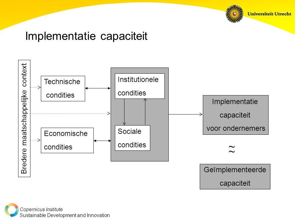 Copernicus Institute Sustainable Development and Innovation Implementatie capaciteit Institutionele condities Sociale condities Economische condities
