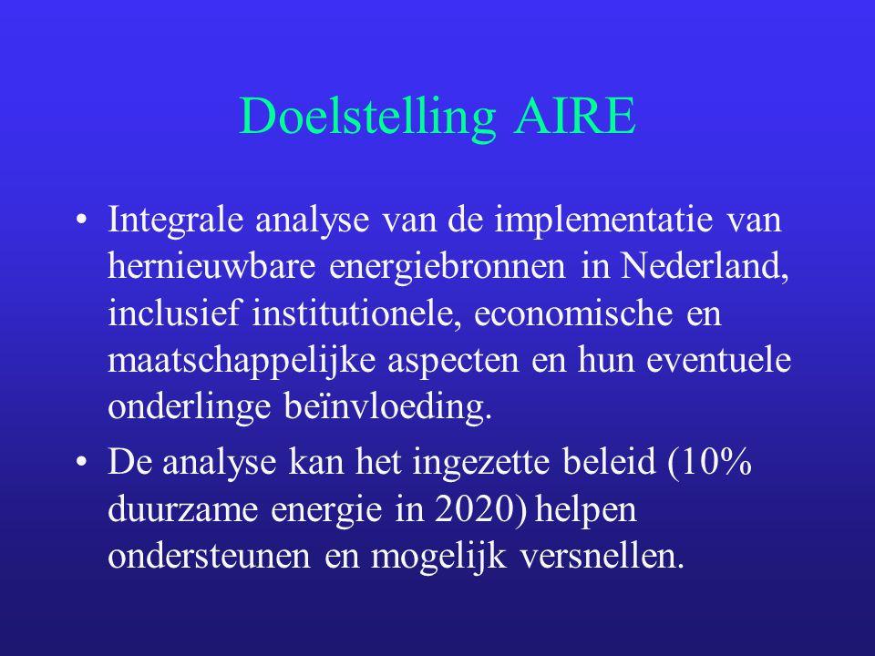 Doelstelling AIRE Integrale analyse van de implementatie van hernieuwbare energiebronnen in Nederland, inclusief institutionele, economische en maatschappelijke aspecten en hun eventuele onderlinge beïnvloeding.