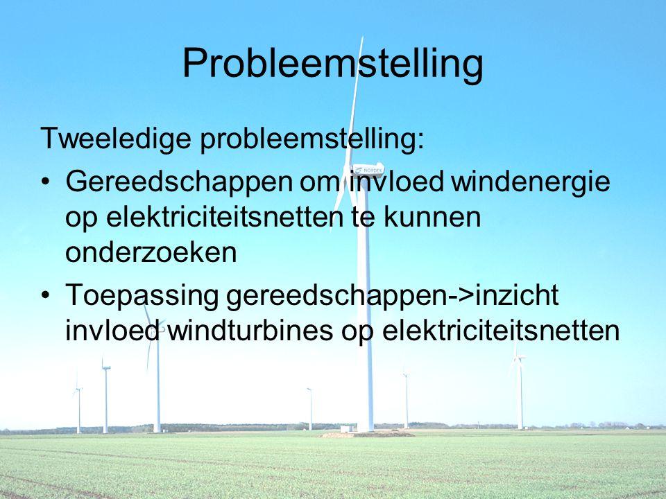 Probleemstelling Tweeledige probleemstelling: Gereedschappen om invloed windenergie op elektriciteitsnetten te kunnen onderzoeken Toepassing gereedschappen->inzicht invloed windturbines op elektriciteitsnetten