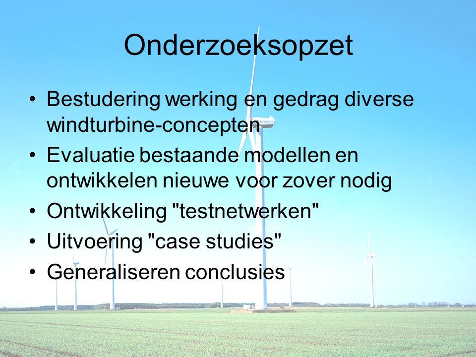 Onderzoeksopzet Bestudering werking en gedrag diverse windturbine-concepten Evaluatie bestaande modellen en ontwikkelen nieuwe voor zover nodig Ontwikkeling testnetwerken Uitvoering case studies Generaliseren conclusies