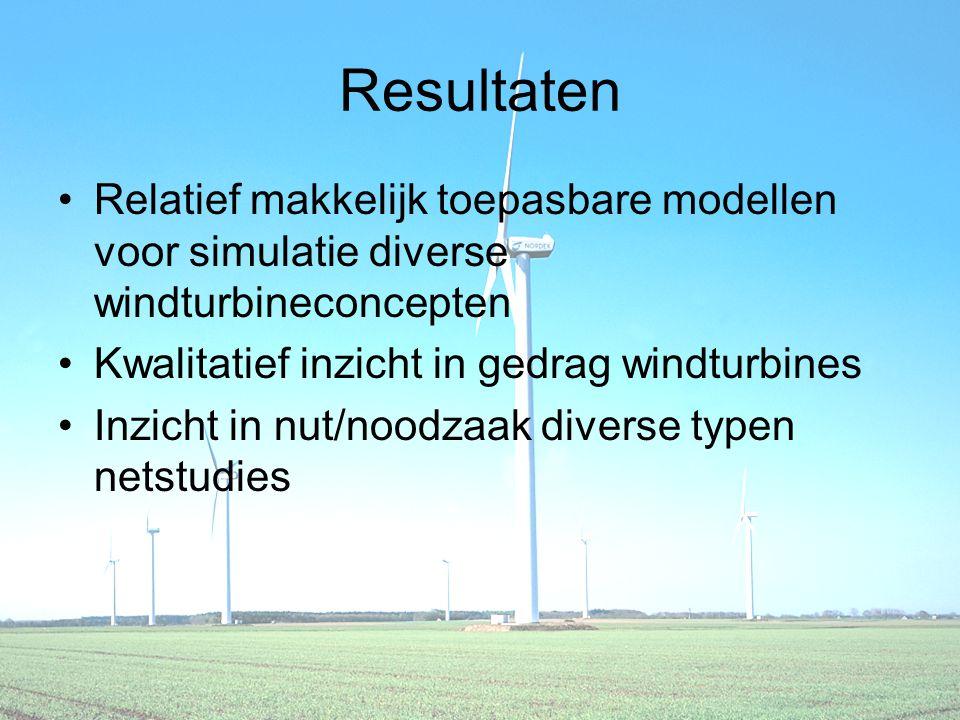 Resultaten Relatief makkelijk toepasbare modellen voor simulatie diverse windturbineconcepten Kwalitatief inzicht in gedrag windturbines Inzicht in nut/noodzaak diverse typen netstudies