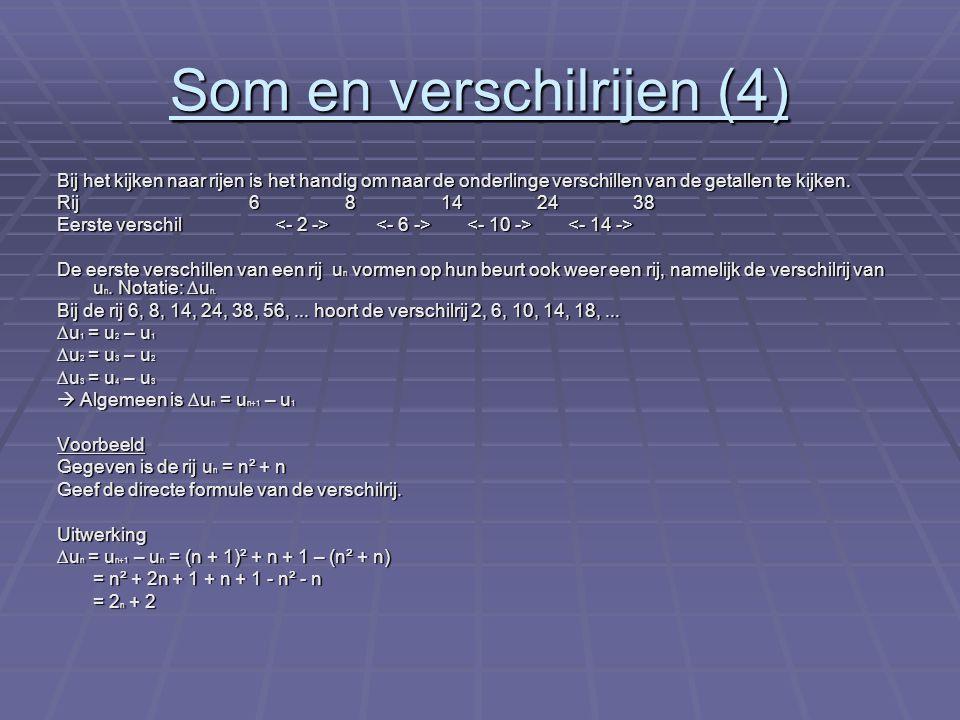 Formules van somrijen De som van de eerste n termen van een rekenkundige rij u n is gelijk aan: S n = 0,5 x n x (u 1 + u 2 ) Voorbeeld Gegeven is de rr u n = 7 n + 1 Uitwerking u1 = 8 en u 20 = 141, dus S 20 = 0,5 x 20 x (8 + 141) = 1490 Voorbeeld 2 Bij de 10 km rijden schaatsers 25 rondjes van 400 meter.
