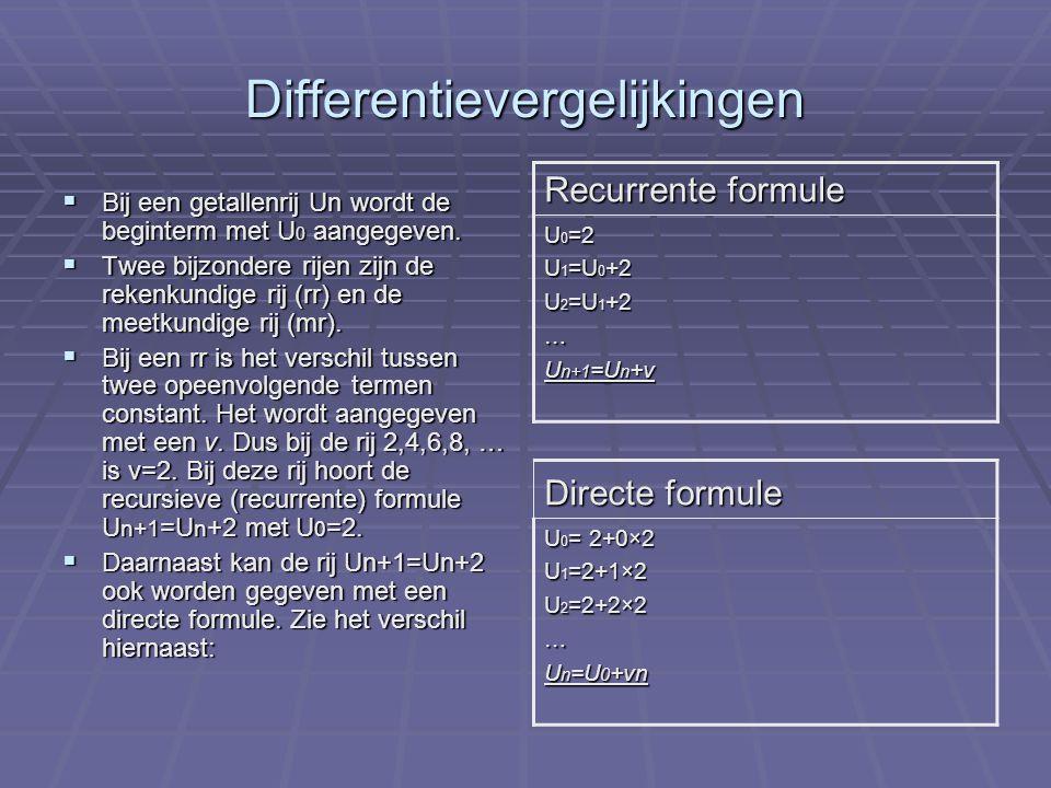 Differentievergelijkingen deel 2  Bij een mr is het quotiënt van twee opeenvolgende termen constant.