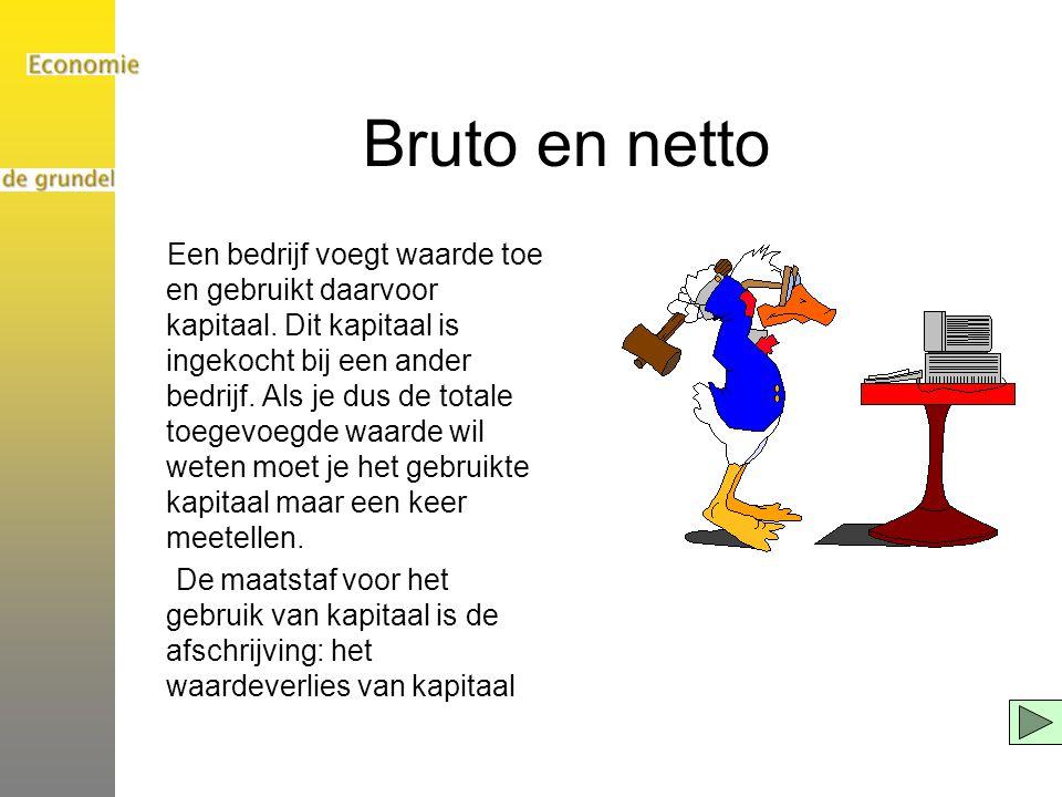 Bruto en netto Een bedrijf voegt waarde toe en gebruikt daarvoor kapitaal.