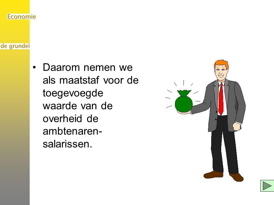 Daarom nemen we als maatstaf voor de toegevoegde waarde van de overheid de ambtenaren- salarissen.