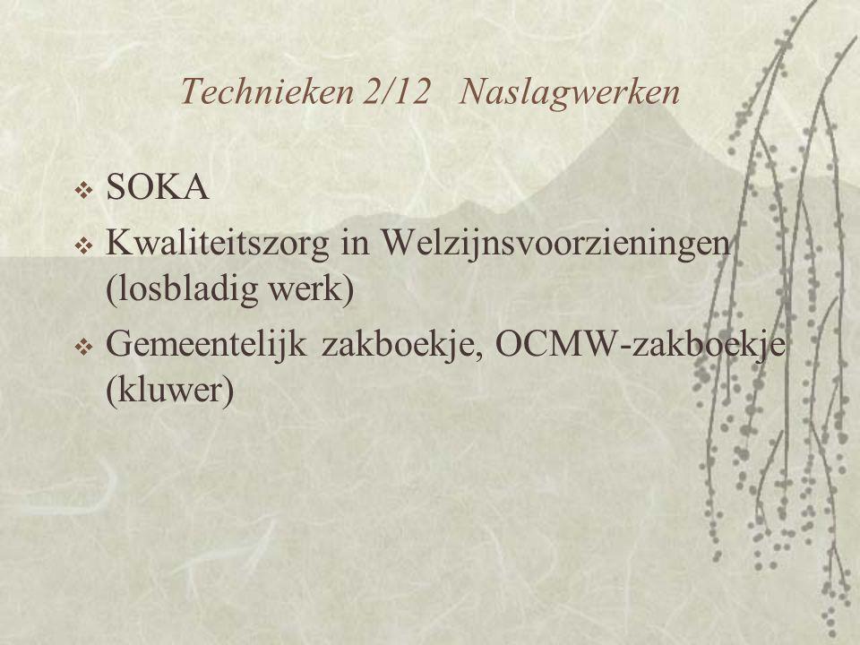 Technieken 2/12 Naslagwerken  SOKA  Kwaliteitszorg in Welzijnsvoorzieningen (losbladig werk)  Gemeentelijk zakboekje, OCMW-zakboekje (kluwer)