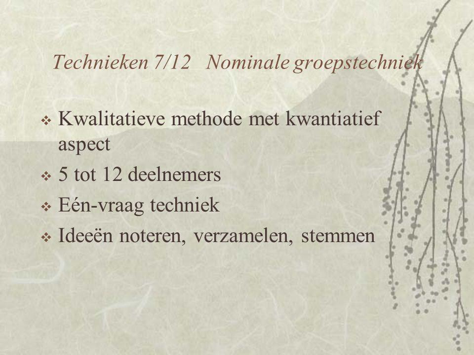 Technieken 7/12 Nominale groepstechniek  Kwalitatieve methode met kwantiatief aspect  5 tot 12 deelnemers  Eén-vraag techniek  Ideeën noteren, verzamelen, stemmen